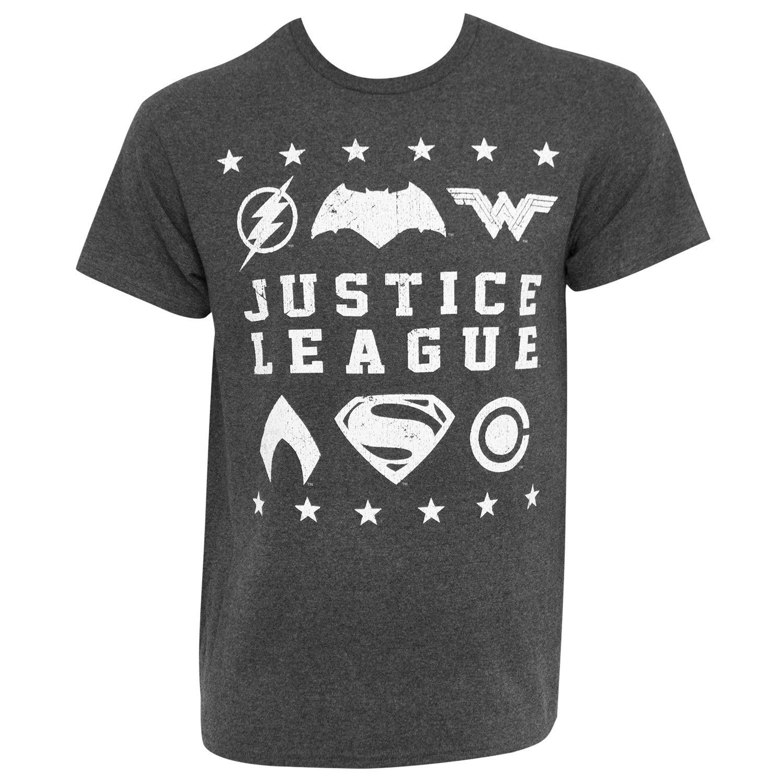 Justice League Superhero Logo Grey Tee Shirt