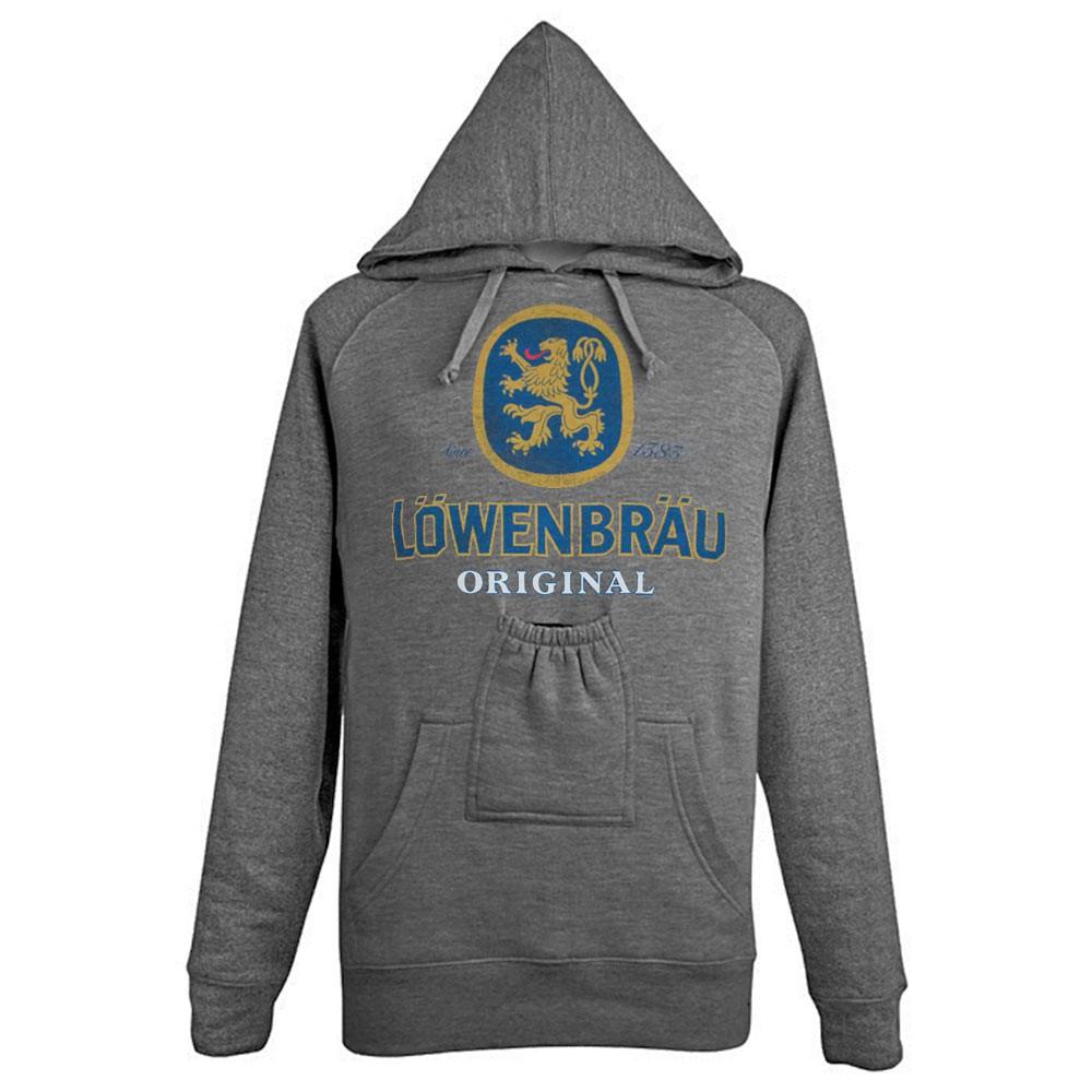 Lowenbrau Grey Logo Beer Pouch Hoodie