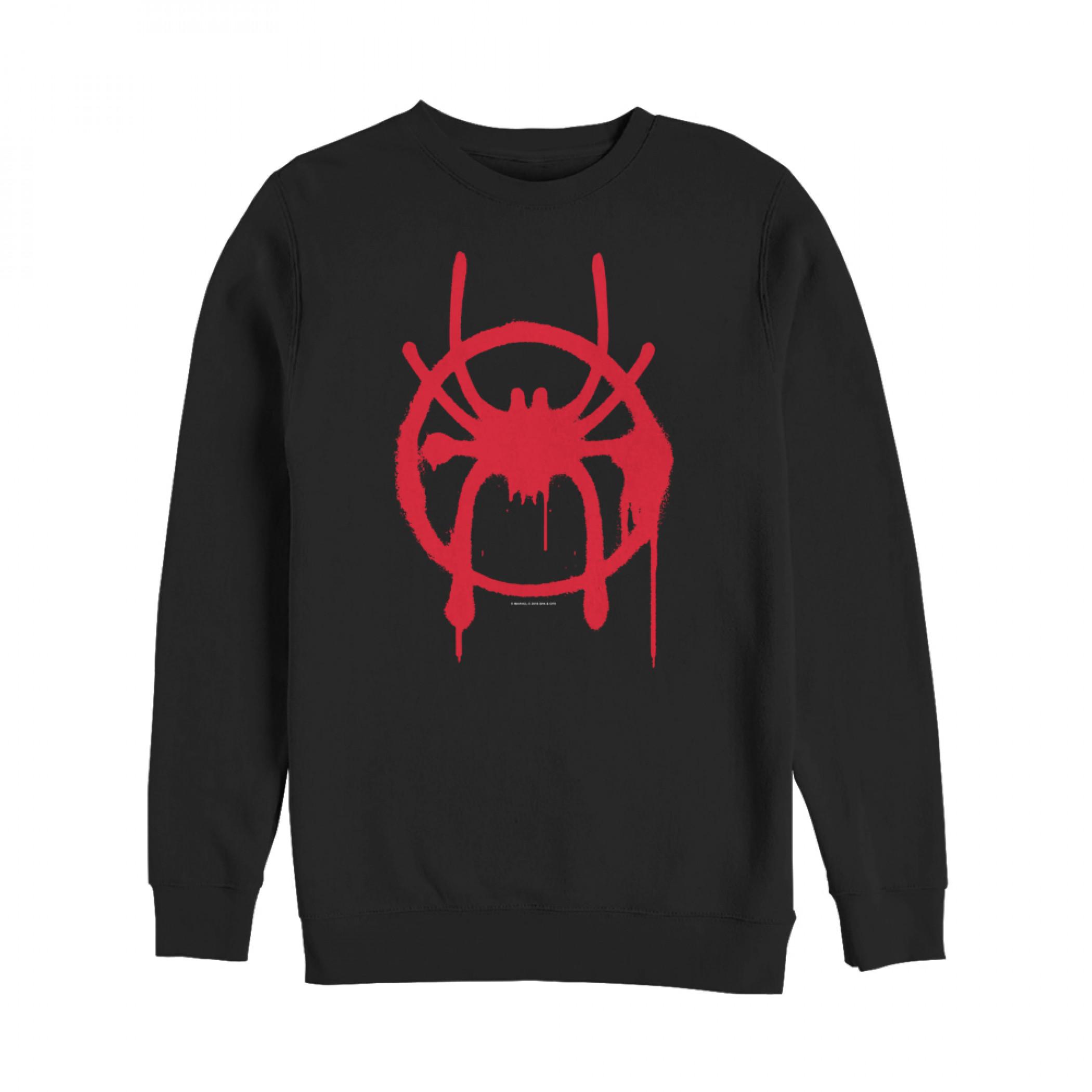 Spider-Man Miles Morales Logo Black Crewneck Sweatshirt