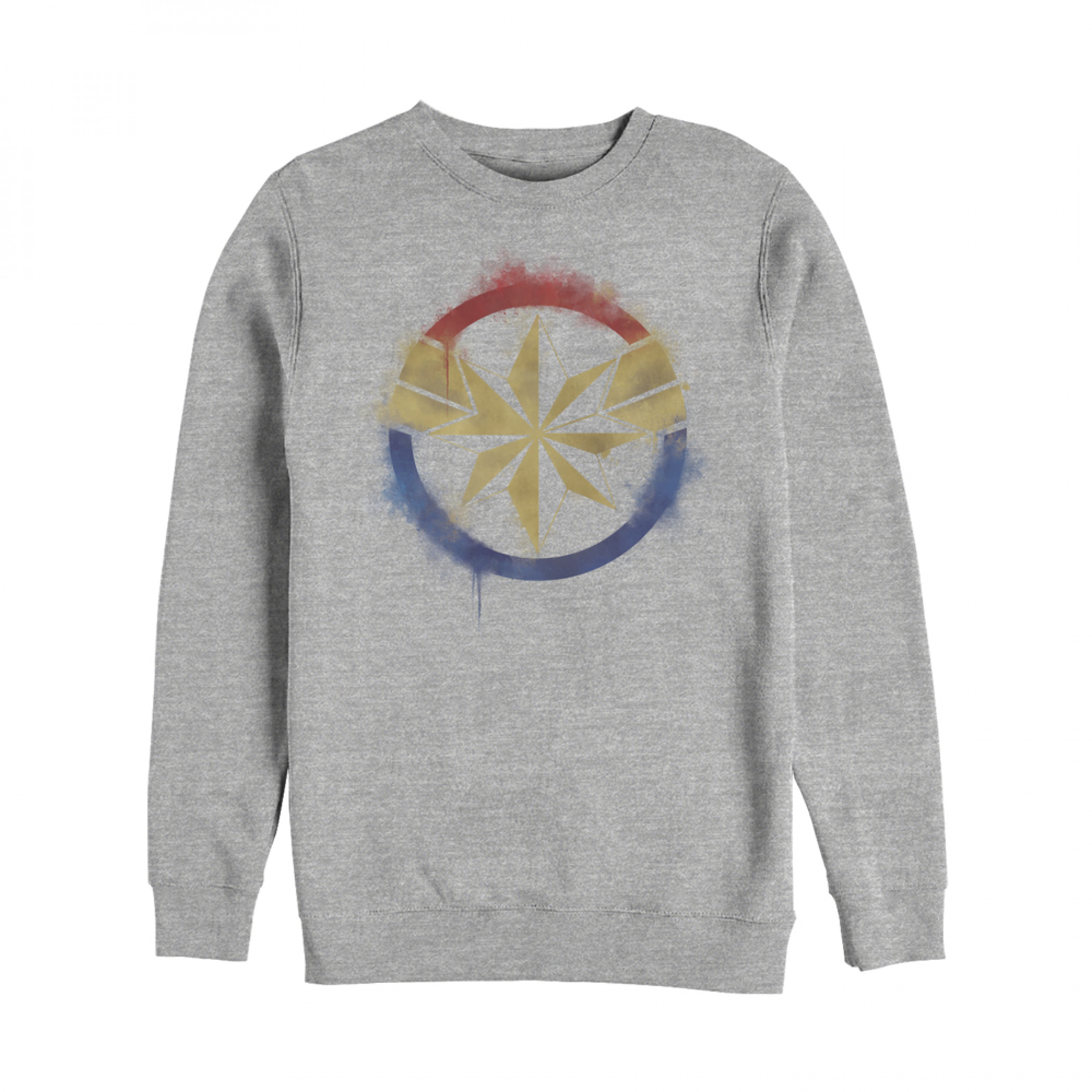Captain Marvel Painted Logo Crewneck Sweatshirt
