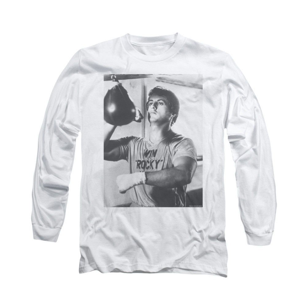 Rocky Square White Long Sleeve T-Shirt