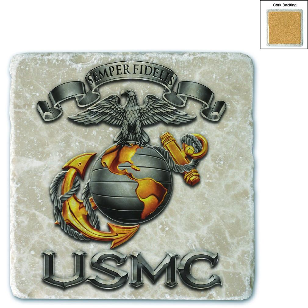 Marines USMC Semper Fidelis Stone Coaster