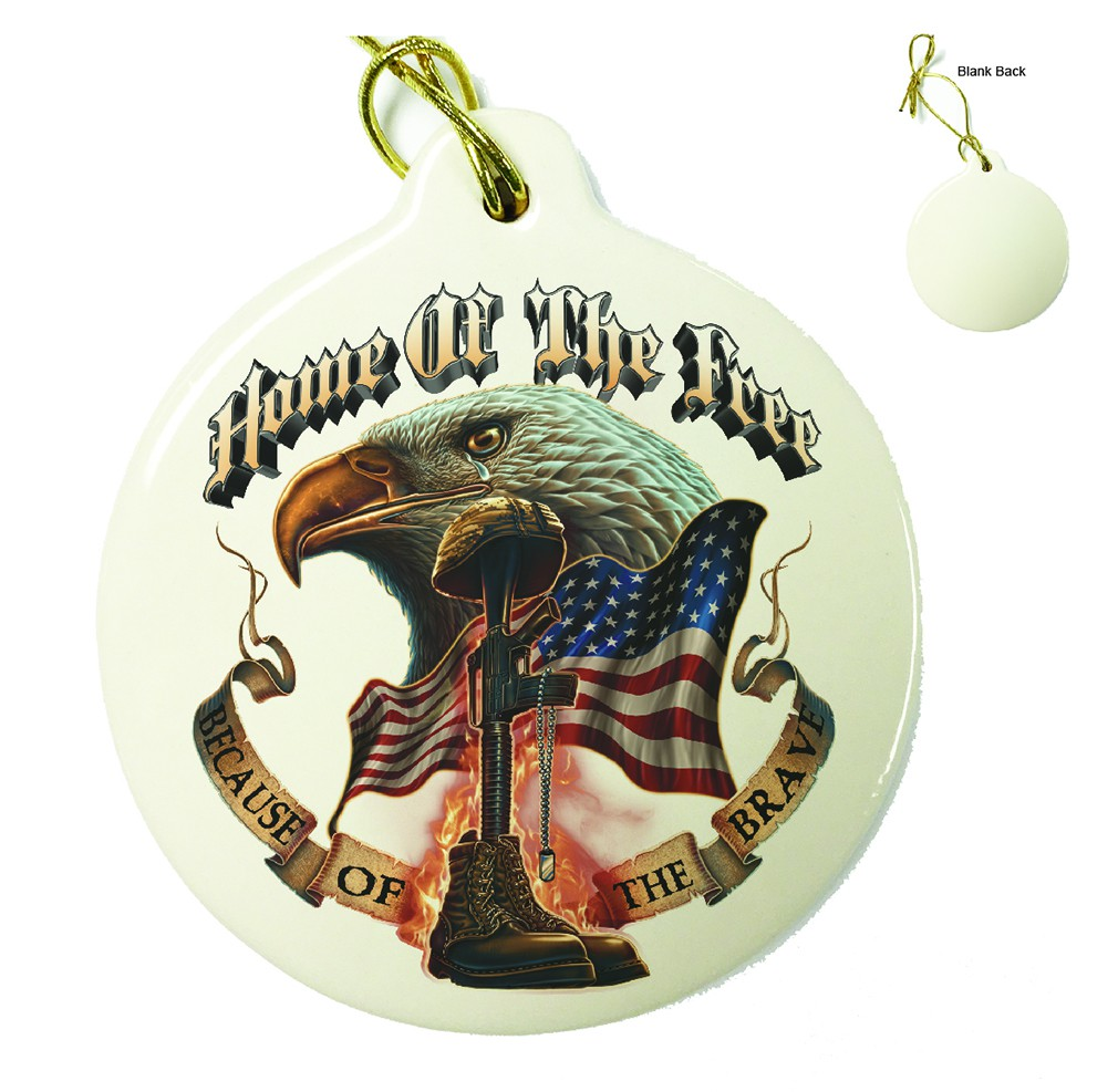 Home Of The Free Because Of The Brave Porcelain Ornament