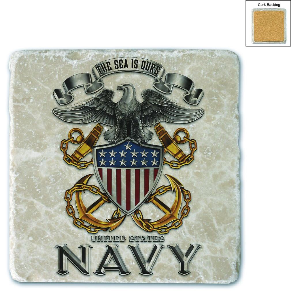 US Navy Full Print Eagle Stone Coaster