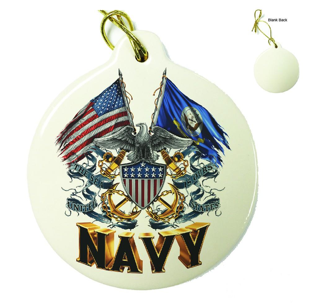 Double Flag US Navy Shield Porcelain Ornament