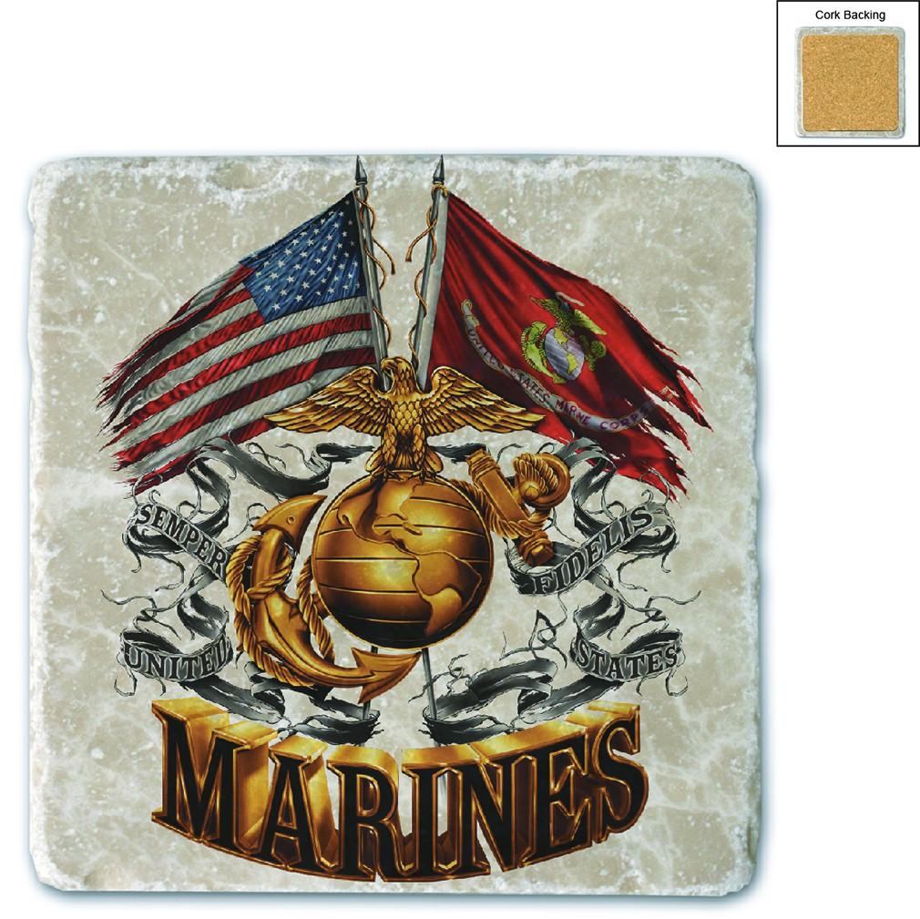 US Marines Double Flag Stone Coaster