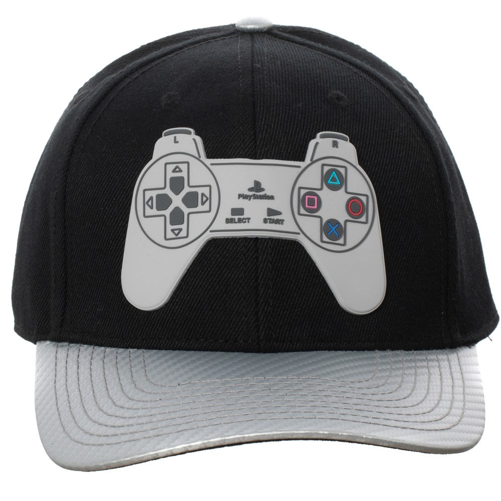 PlayStation Controller Black And Grey Adjustable Snapback Hat