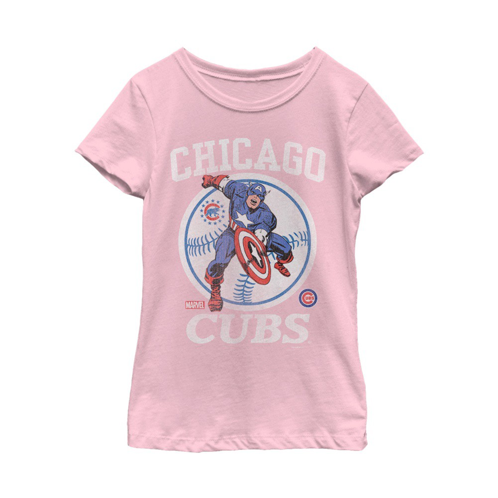 Captain America Chicago Cubs Women's Pink Tshirt