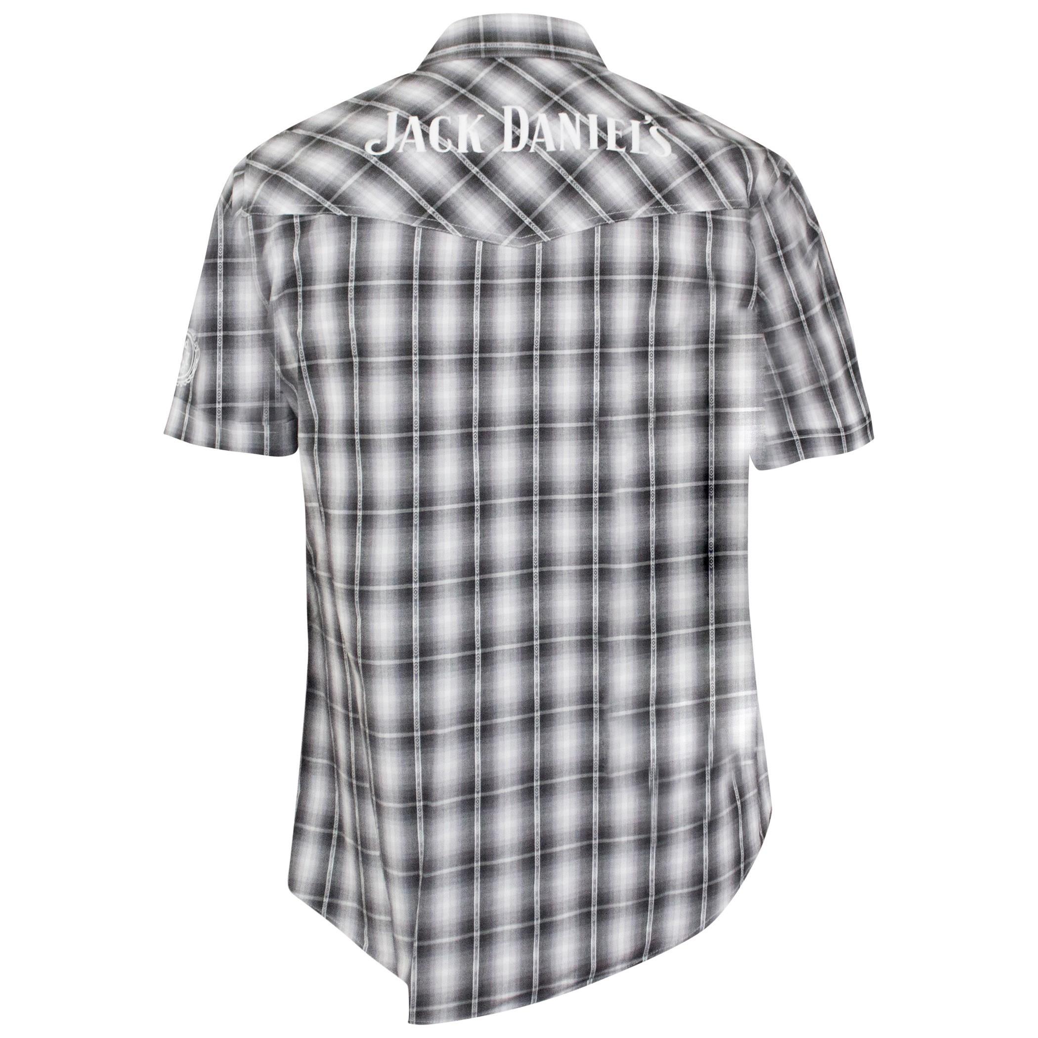 Jack Daniels Textured Plaid Short Sleeve Button Up Tee Shirt