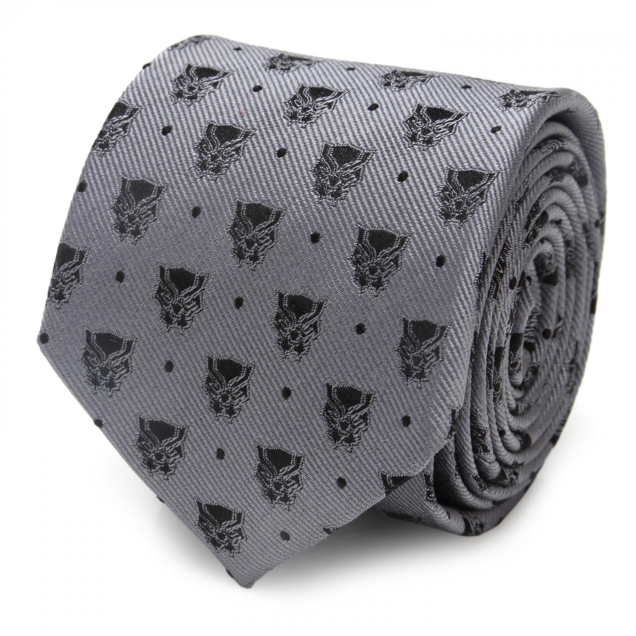 Black Panther Logos Grey Silk Tie