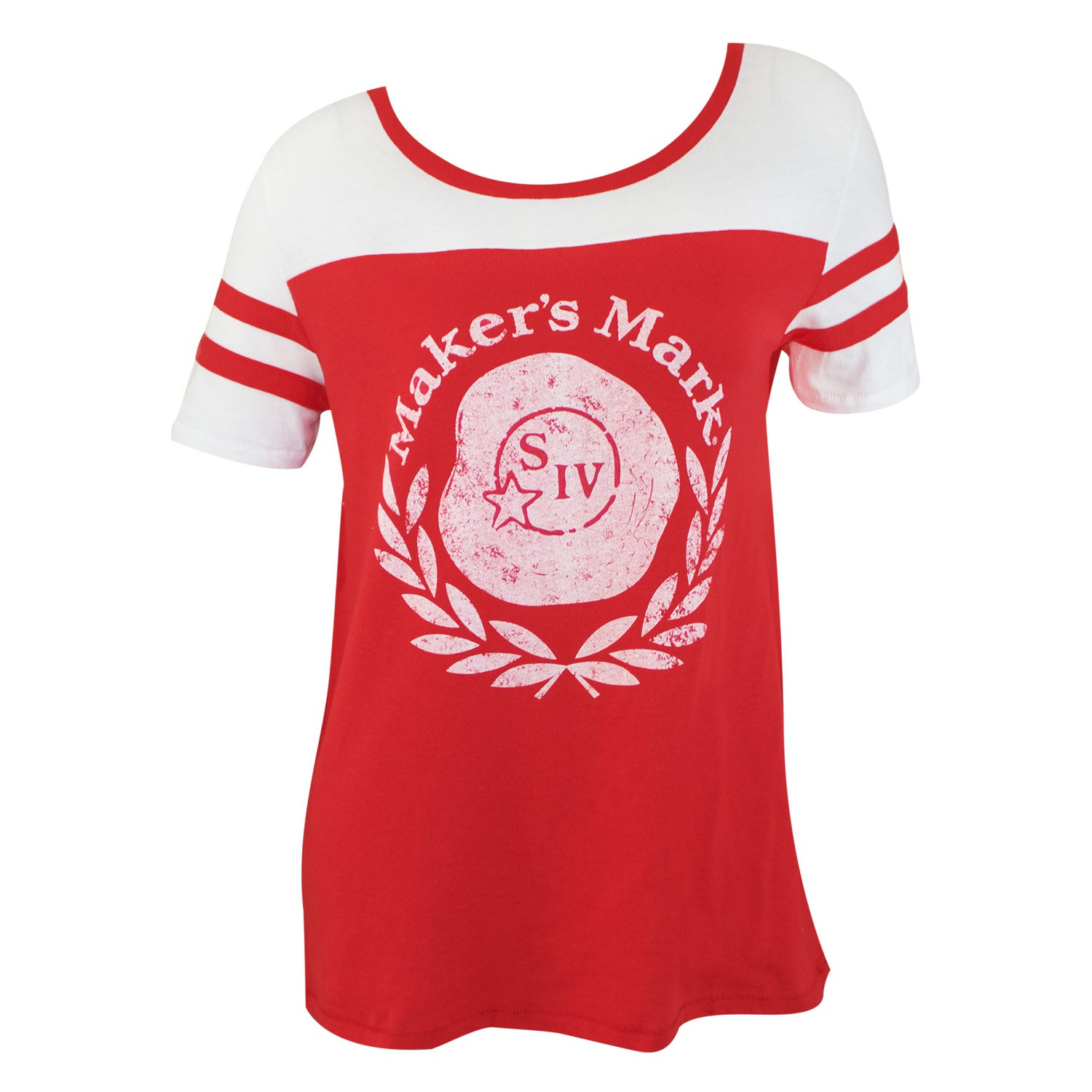 Maker's Mark Vintage Logo Red Women's Jersey Tee Shirt