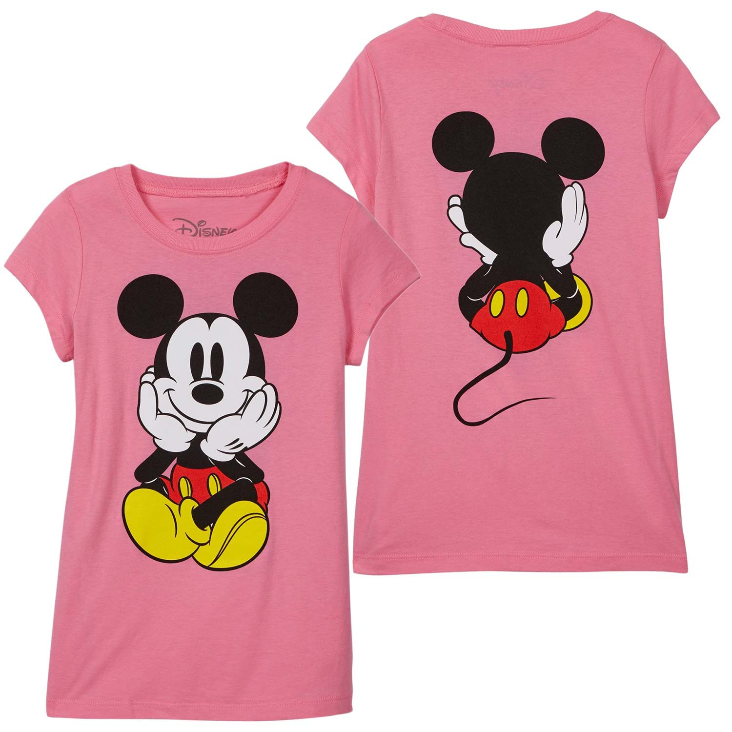 Mickey Mouse Front Back Print Youth Girls Pink Tee Shirt