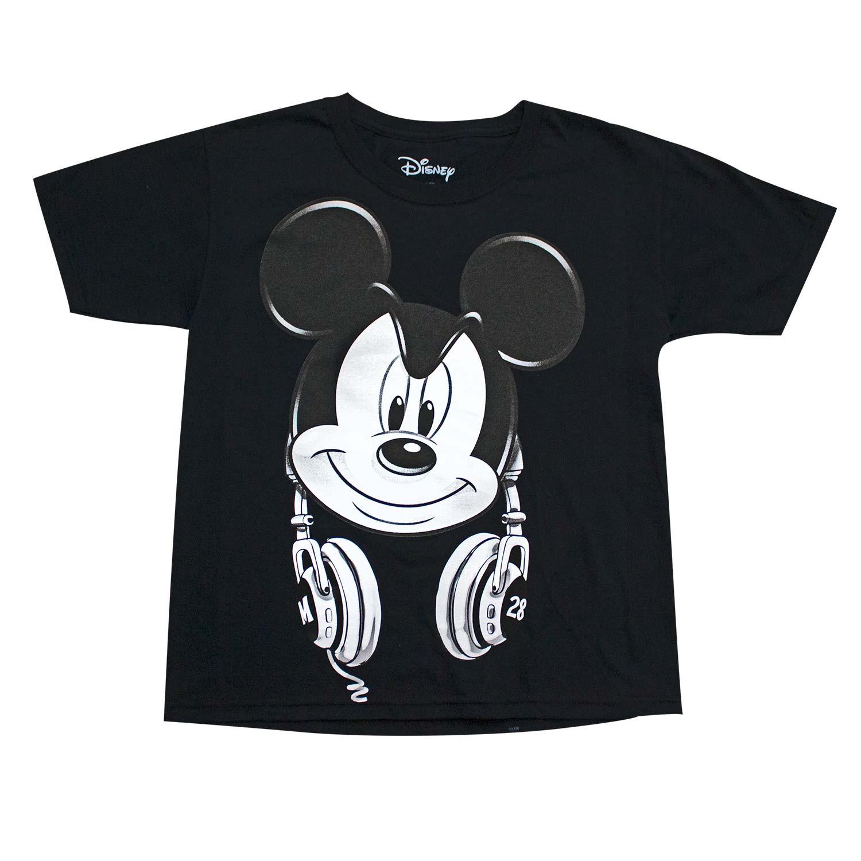 Mickey Mouse Headphones Youth Boys Black Tee Shirt
