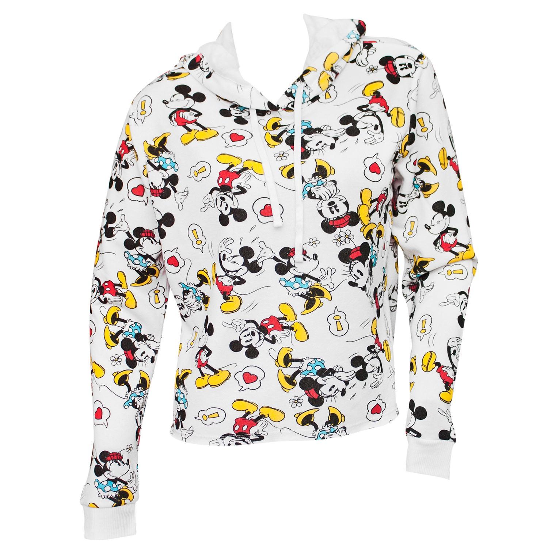 Mickey And Minnie Women's White Crop Hoodie