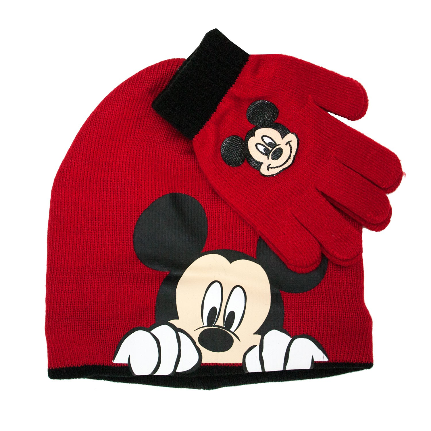 Mickey Mouse Red Hat And Glove Set