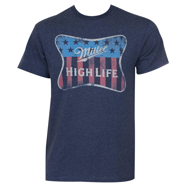 Miller High Life Navy Blue Patriotic Tee Shirt