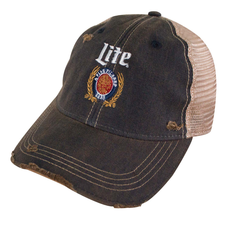 Miller Lite Logo Retro Brand Mesh Brown Trucker Hat