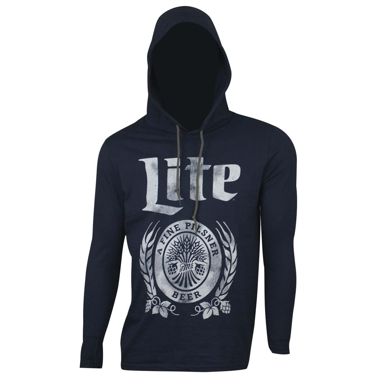 Miller Lite Long Sleeve Hooded Navy T-Shirt