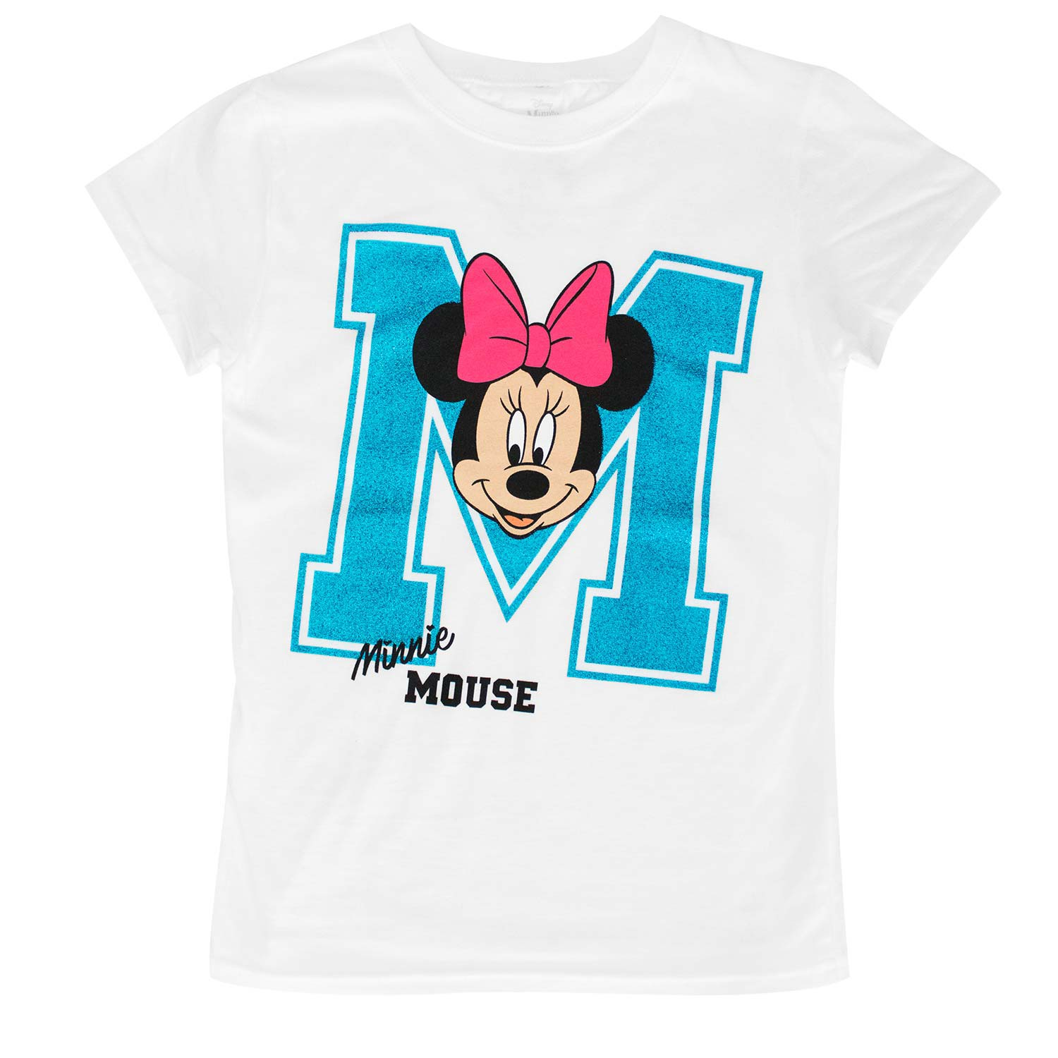 Minnie Mouse Glitter M Youth Girls 7-16 White T-Shirt