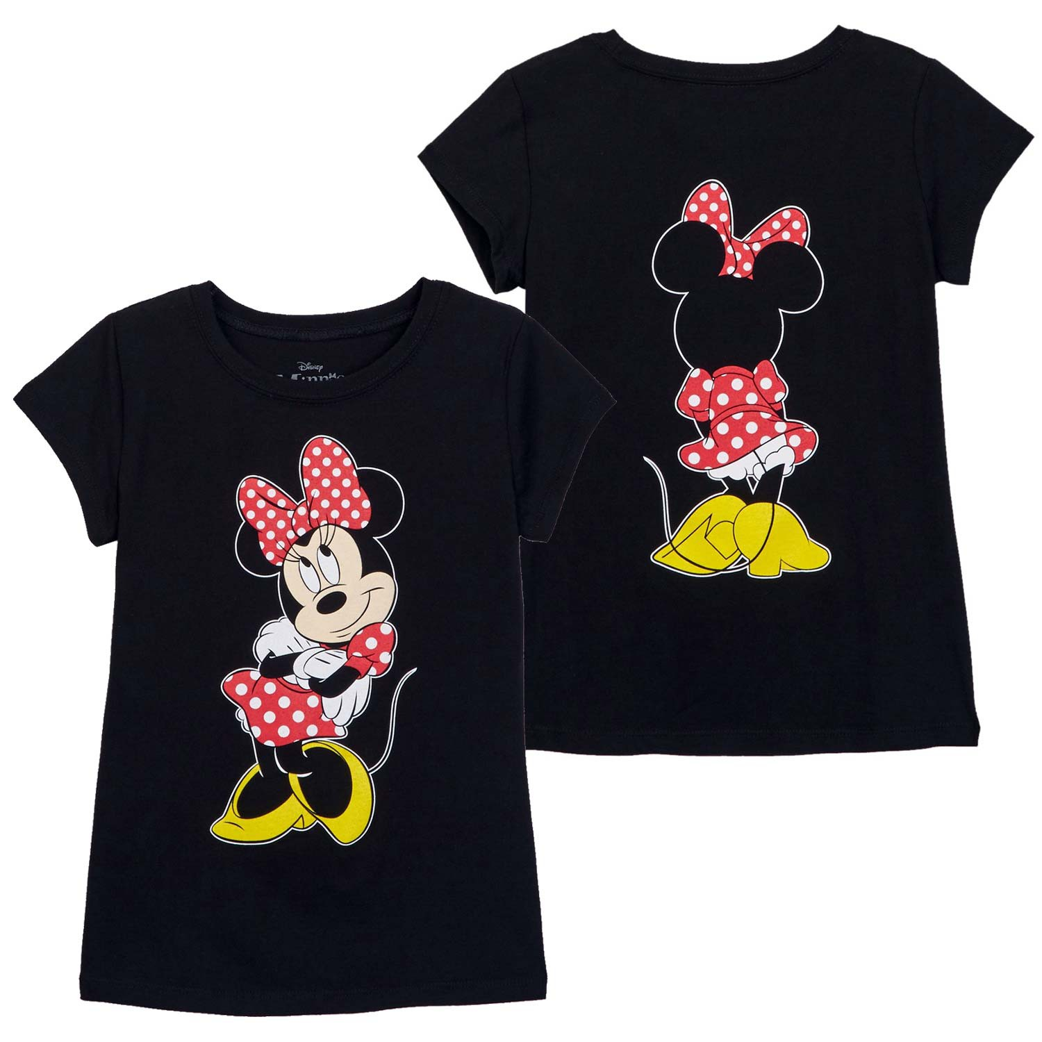 Minnie Mouse Front Back Print Girls Youth Black T-Shirt