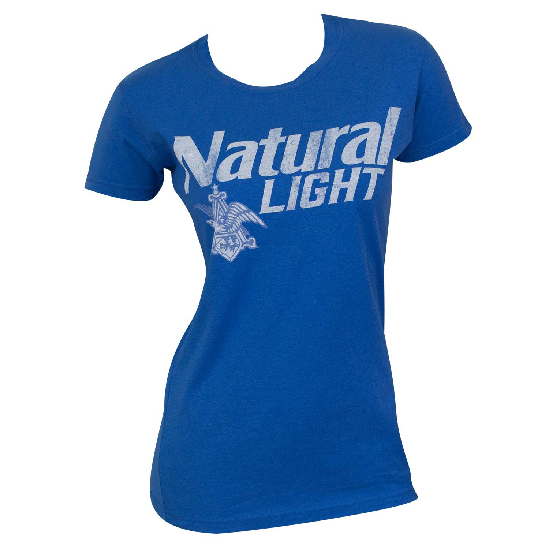 Natural Light Blue Faded Logo Tee Shirt