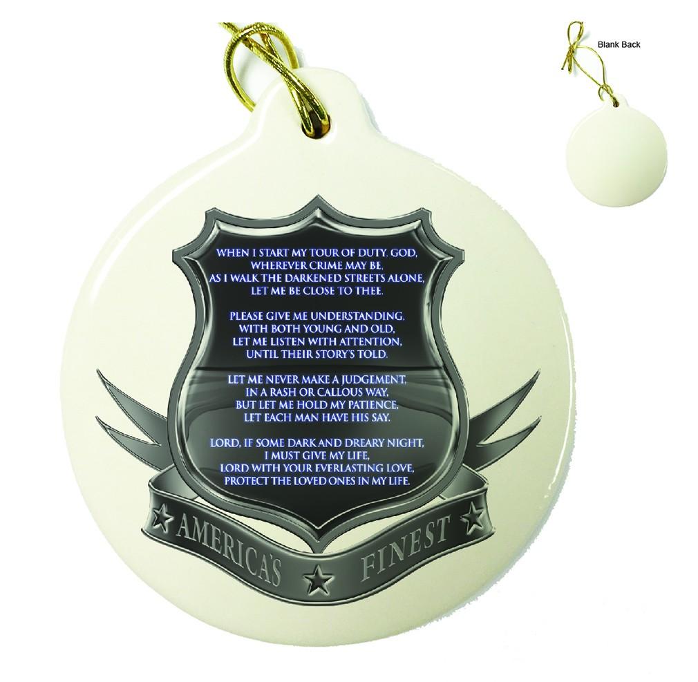 Policeman's Prayer Porcelain Ornament