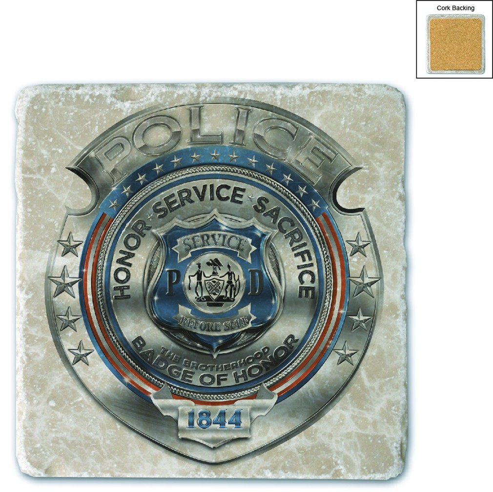 Police Honor Courage Sacrifice Badge Stone Coaster