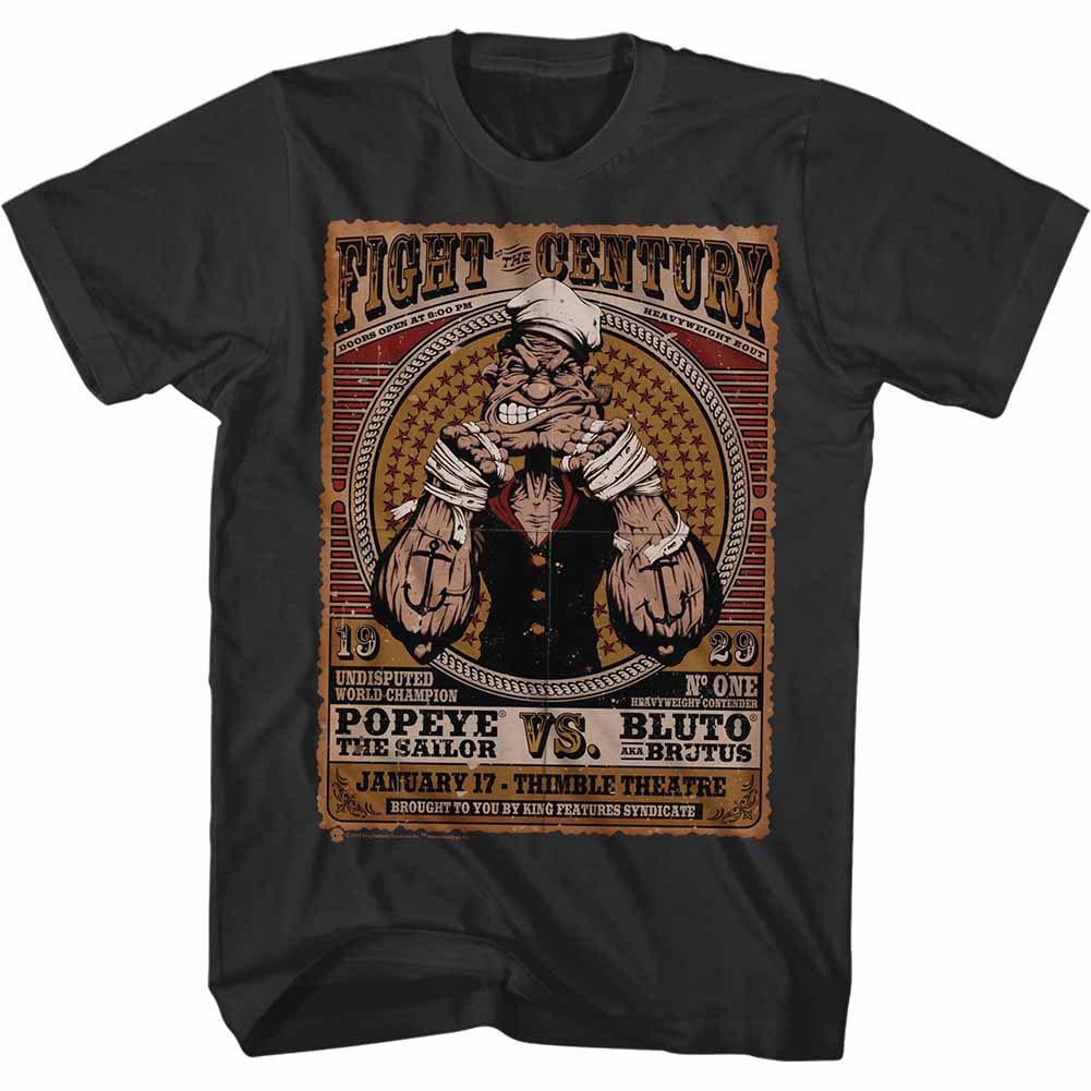 Popeye Fight Of The Century Black T-Shirt