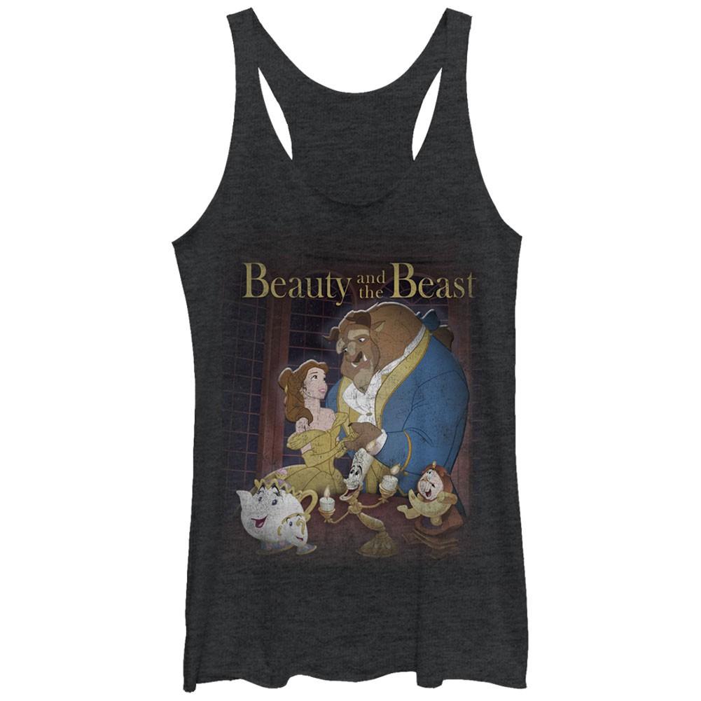 Disney Beauty And The Beast Poster Black Juniors Tank Top