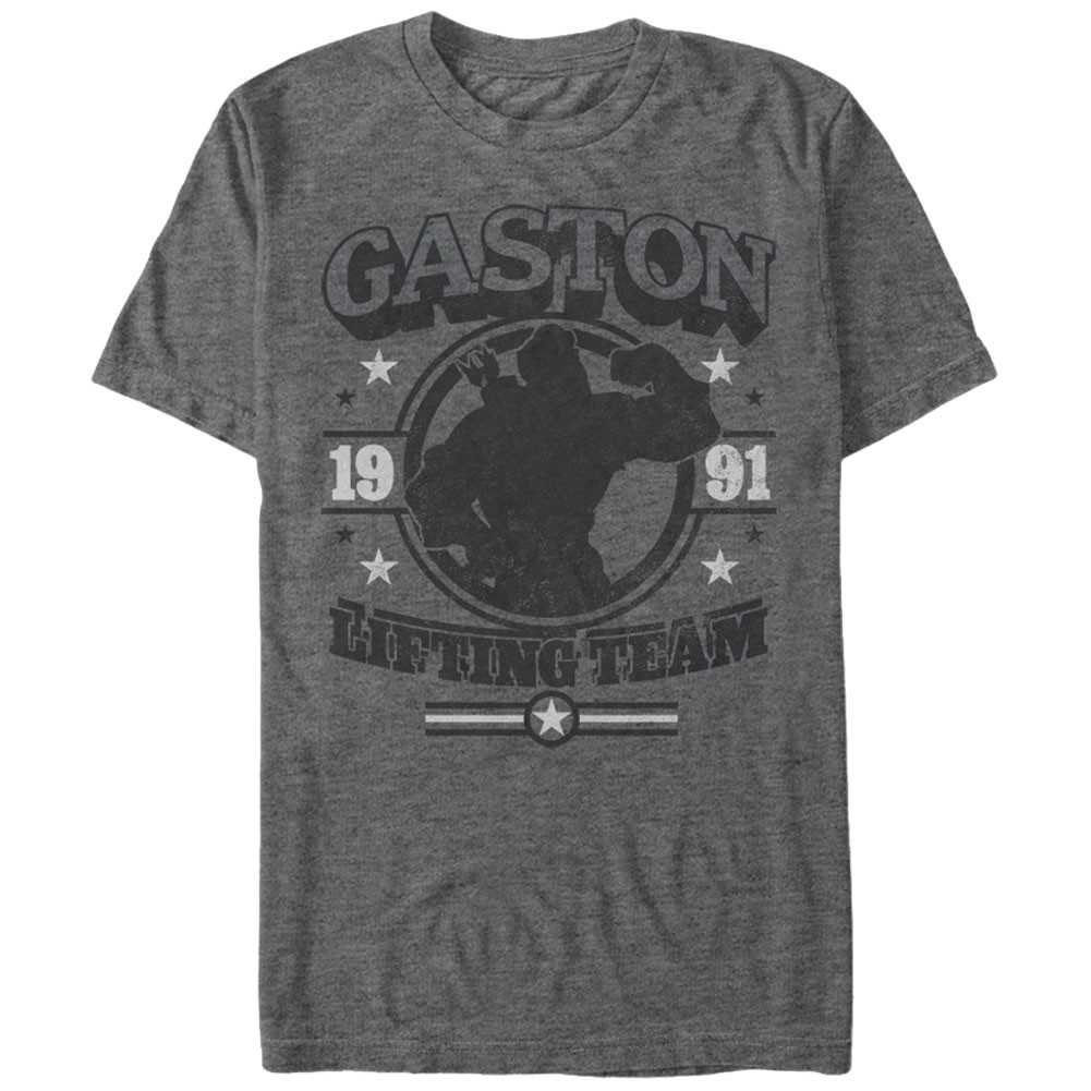 Disney Beauty And The Beast Gaston Gym Gray T-Shirt