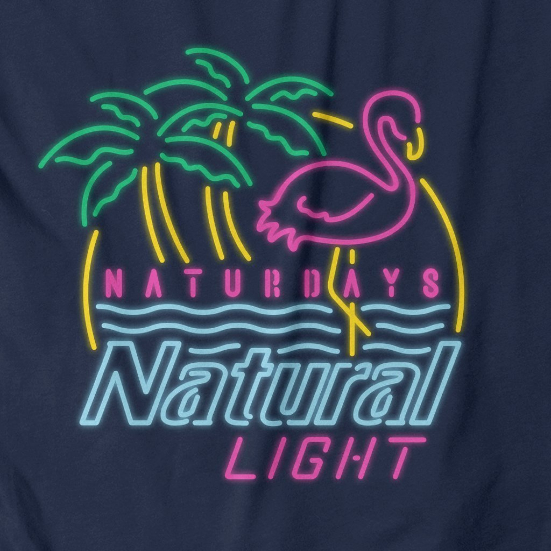 Natural Light Beer Naturdays Neon Navy Men's Cotton Tank Top