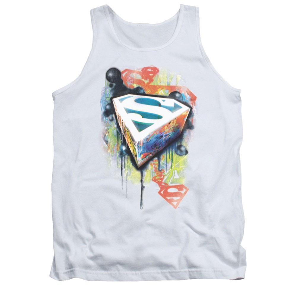 Superman Urban Shields White Mens Tank Top