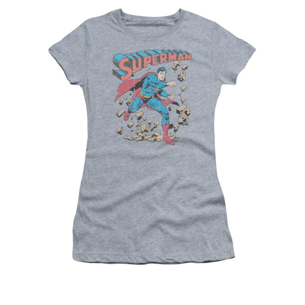 Superman Rock Smash Gray Juniors T-Shirt