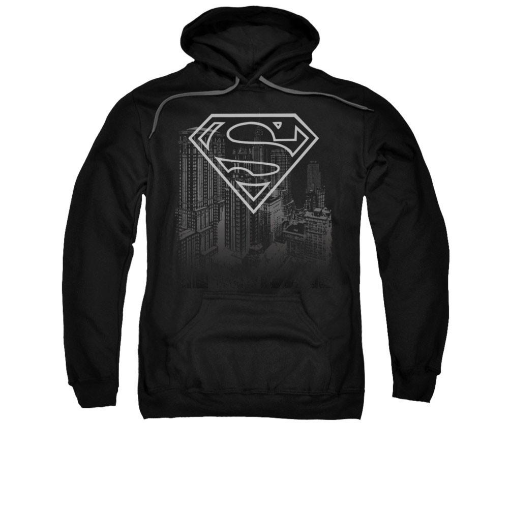 Superman Skyline Black Pullover Hoodie