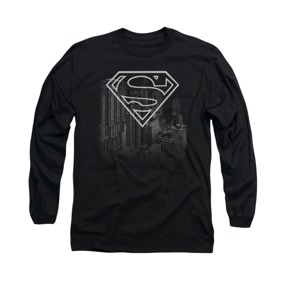 Superman Skyline Black Long Sleeve T-Shirt