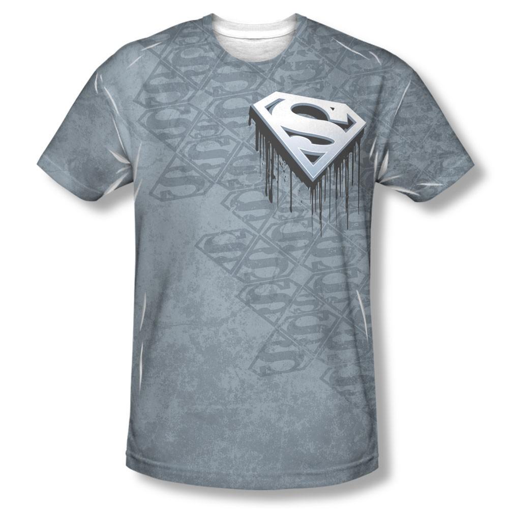 Superman Drip Logo Sublimation Gray T-Shirt