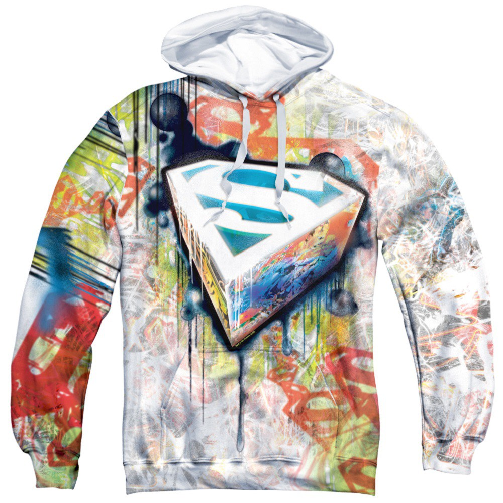 Superman Graffiti All Over Front and Back Print Hoodie