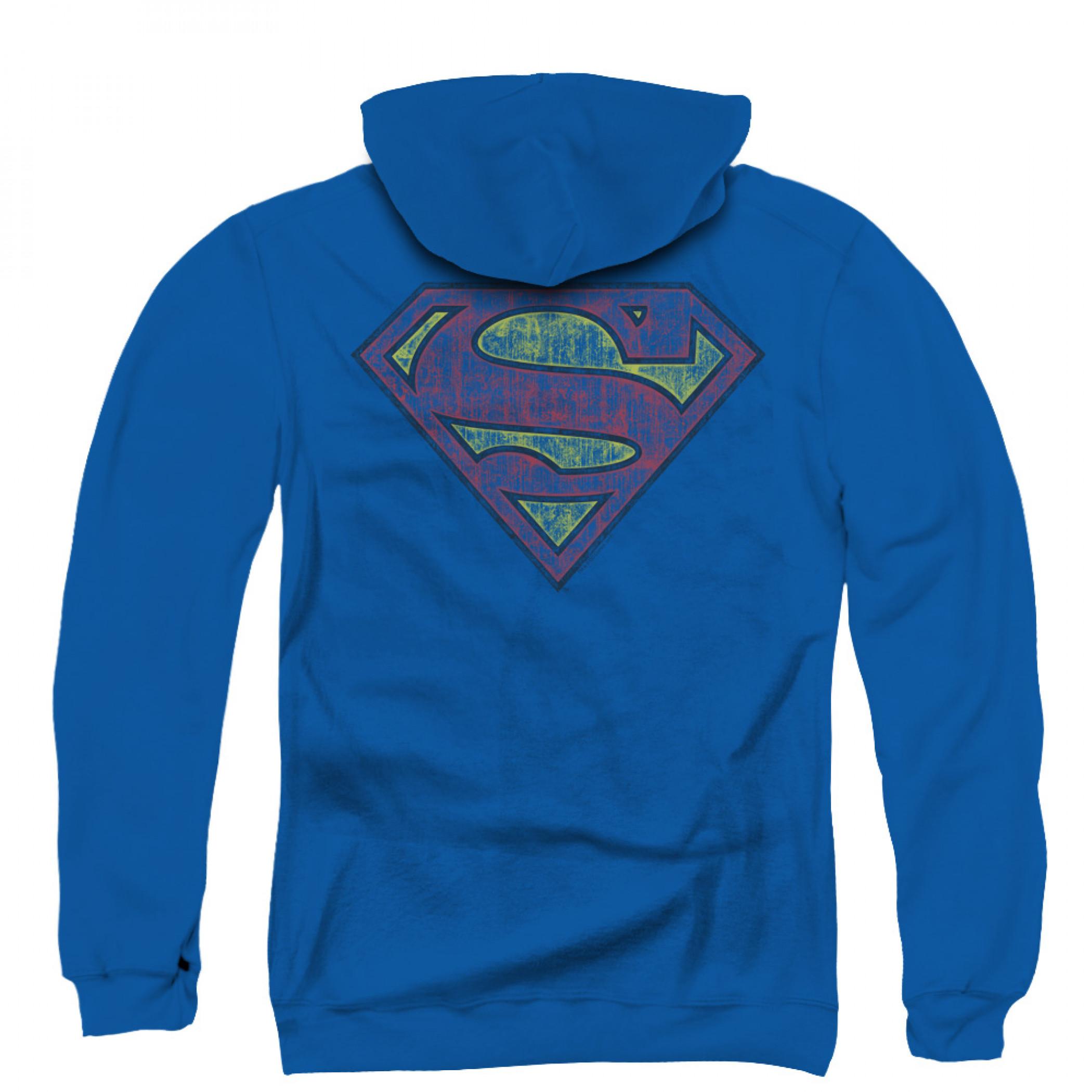 Superman Distressed Logo Zip Up Hoodie