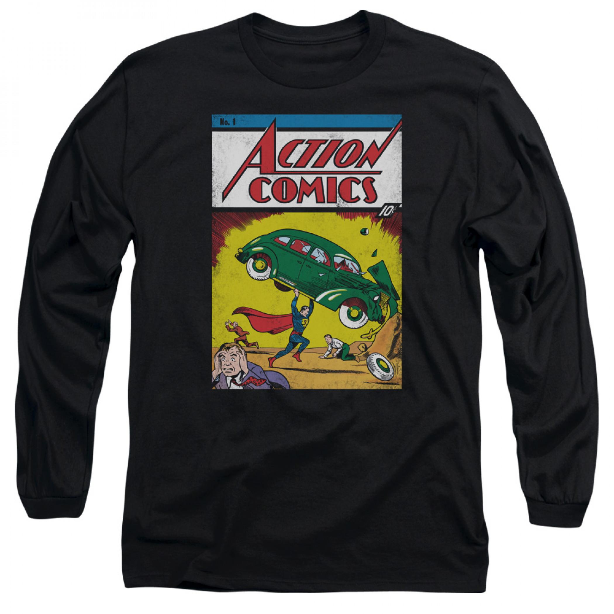 Superman Action Comics #1 Men's Black Long Sleeve Shirt