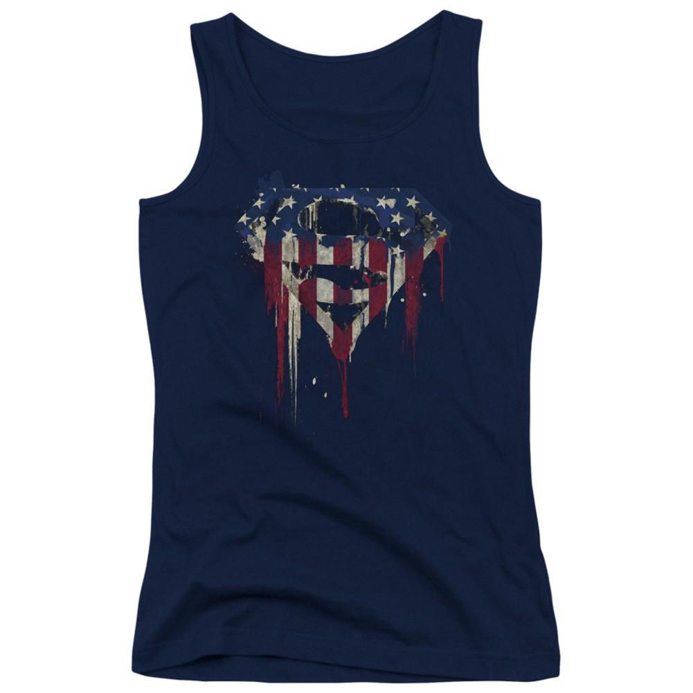Superman Dripping USA Flag Women's Tank Top