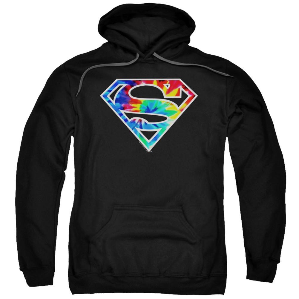 Superman Tie Dye Logo Black Hoodie