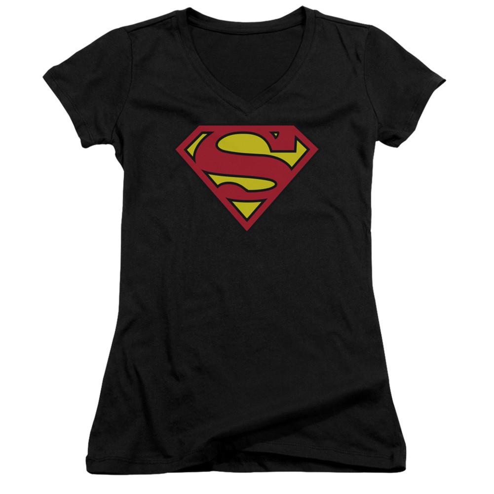 Superman Classic Logo Women's Black V-Neck Tshirt