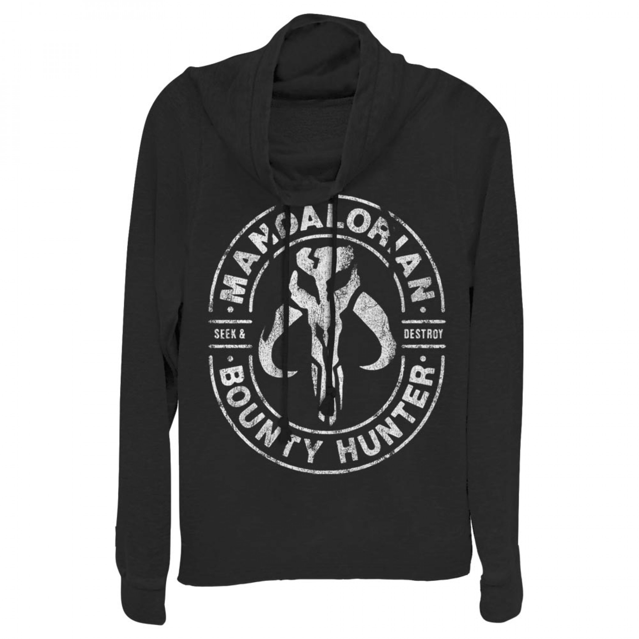The Mandalorian Seek and Destroy Women's Cowl Neck Sweatshirt