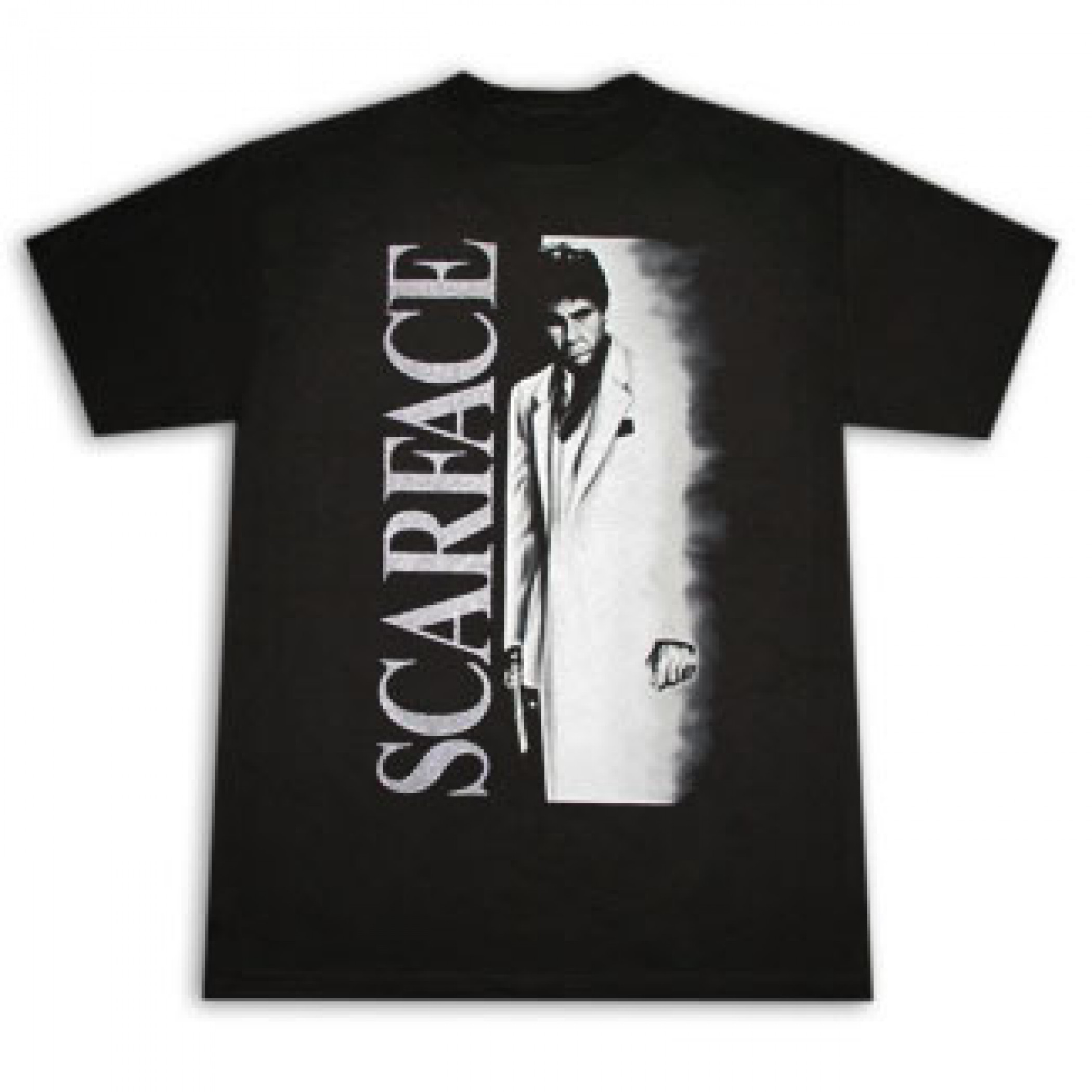 Scarface Airbrush Metallic Poster Black Graphic T-Shirt