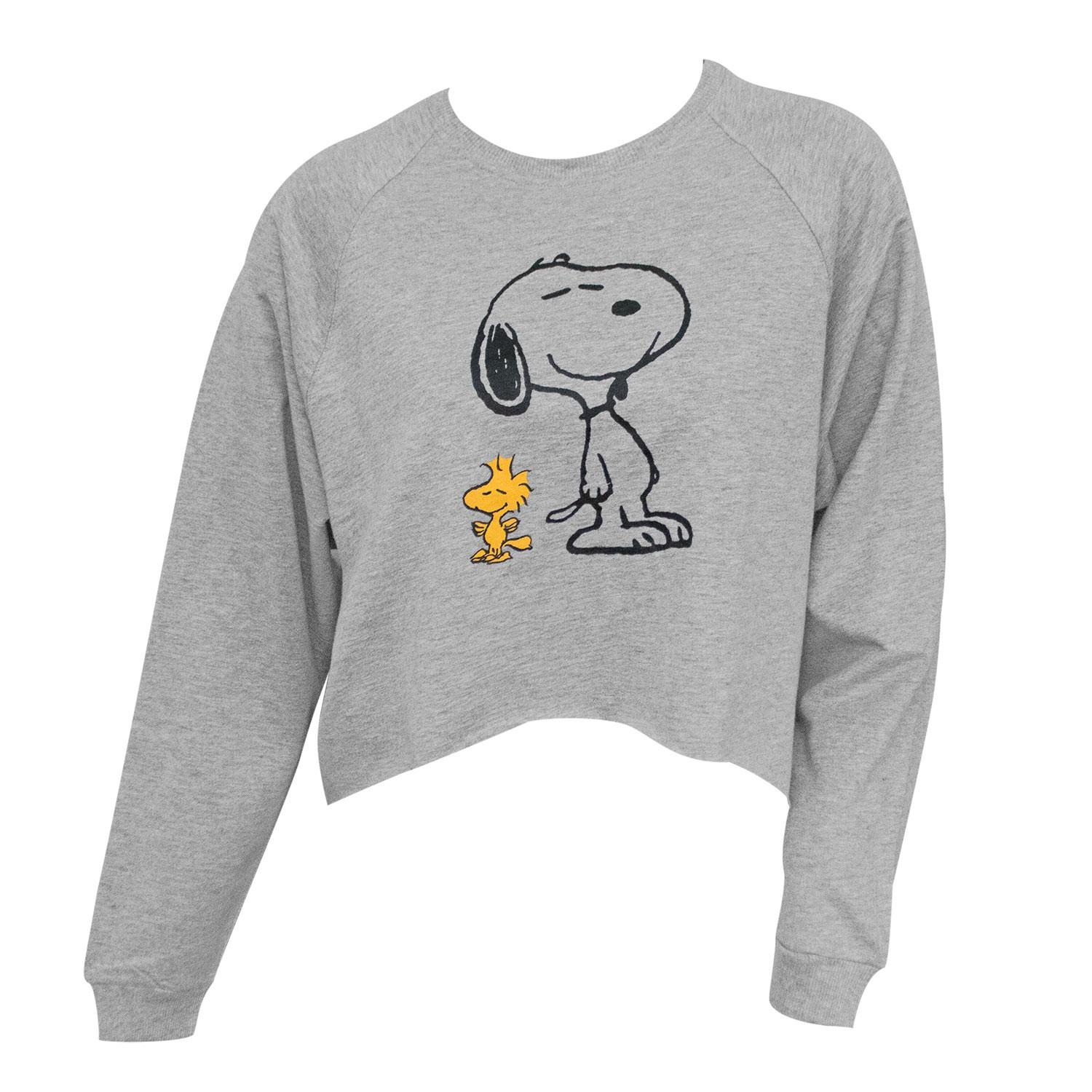 Peanuts Snoopy And Woodstock Women's High-Low Cropped Grey Sweatshirt