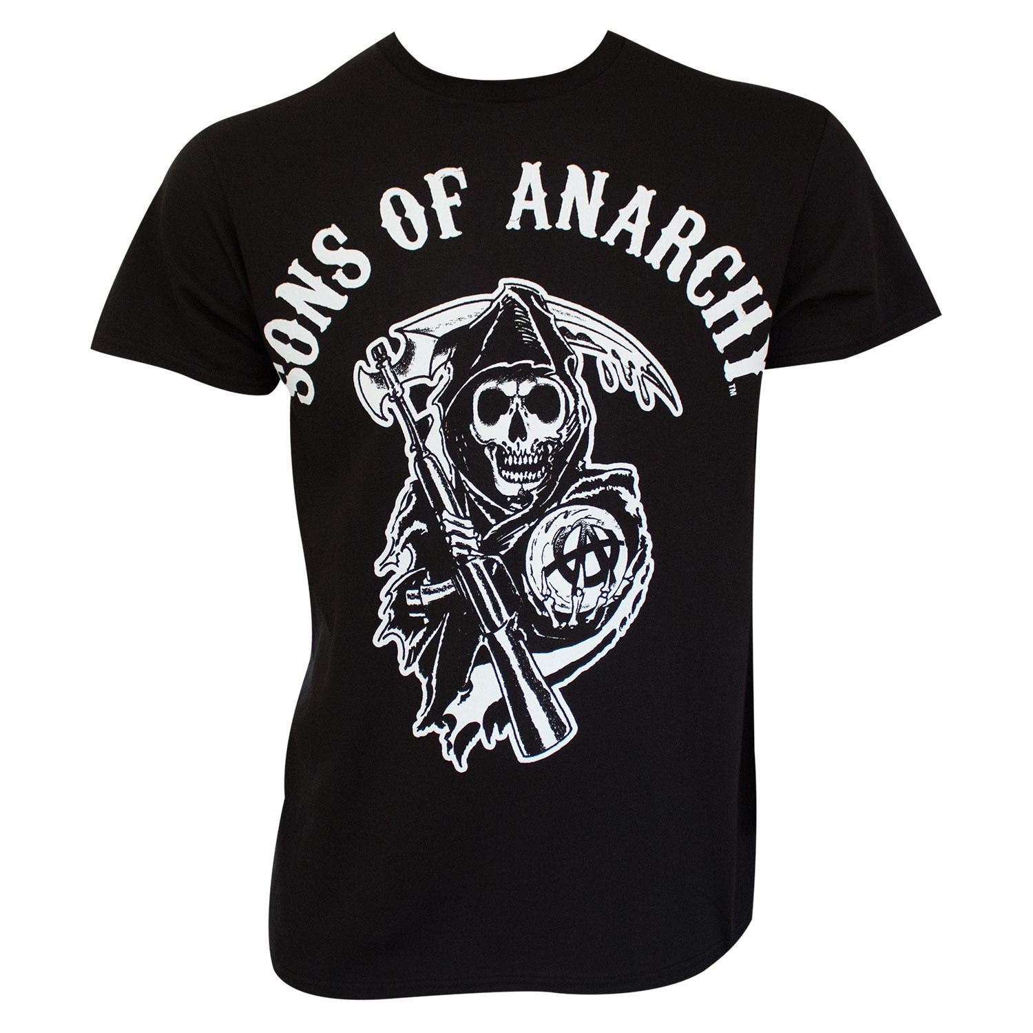 sons of anarchy men 39 s black classic reaper logo t shirt. Black Bedroom Furniture Sets. Home Design Ideas