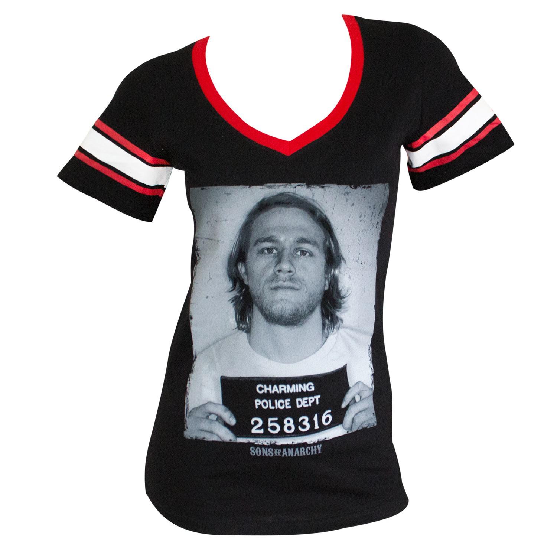 Sons Of Anarchy Mug Shot Women's Striped Sleeve Tee Shirt