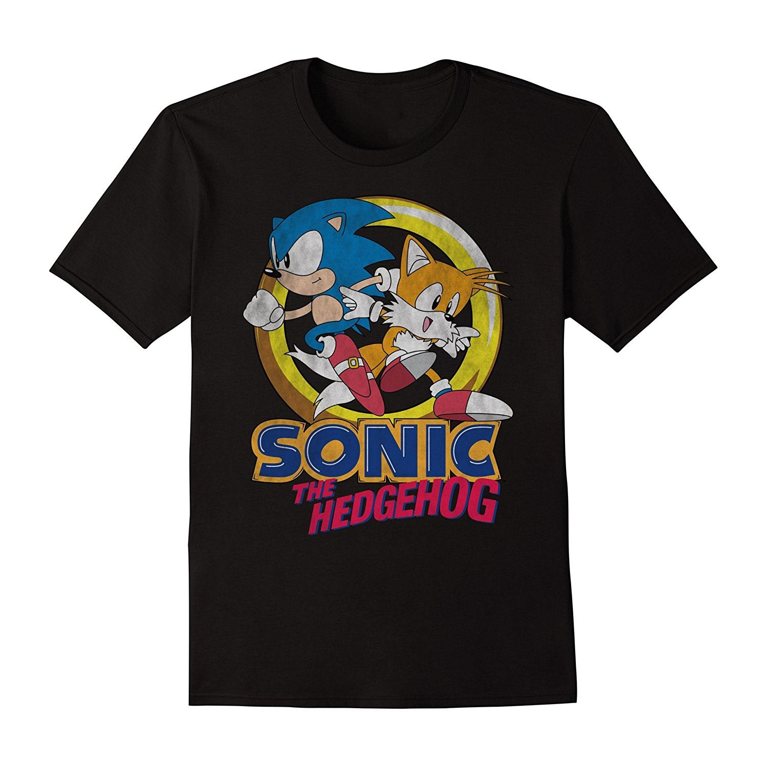 Sonic The Hedgehog And Tails Boys 8-20 Youth Black Tee Shirt