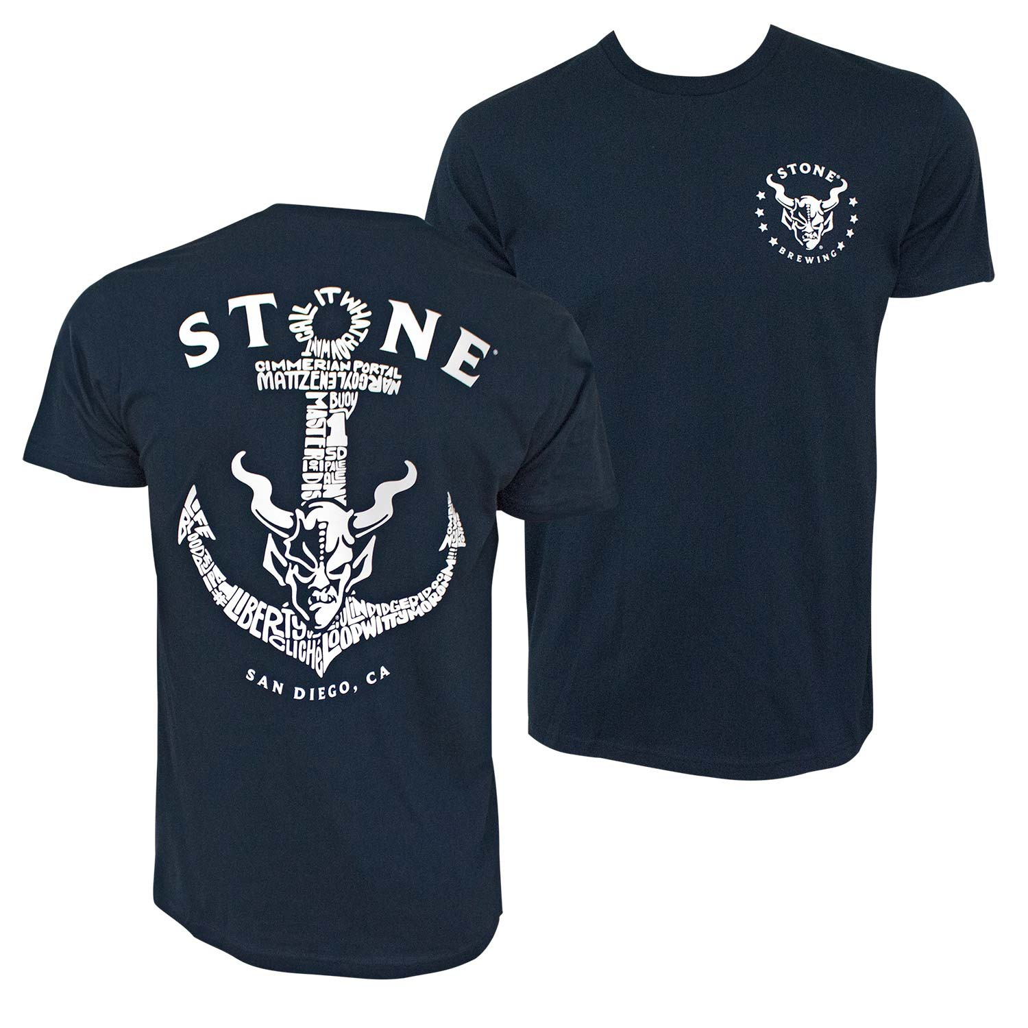 Stone Brewing Liberty Station Navy Blue Anchor Tee Shirt