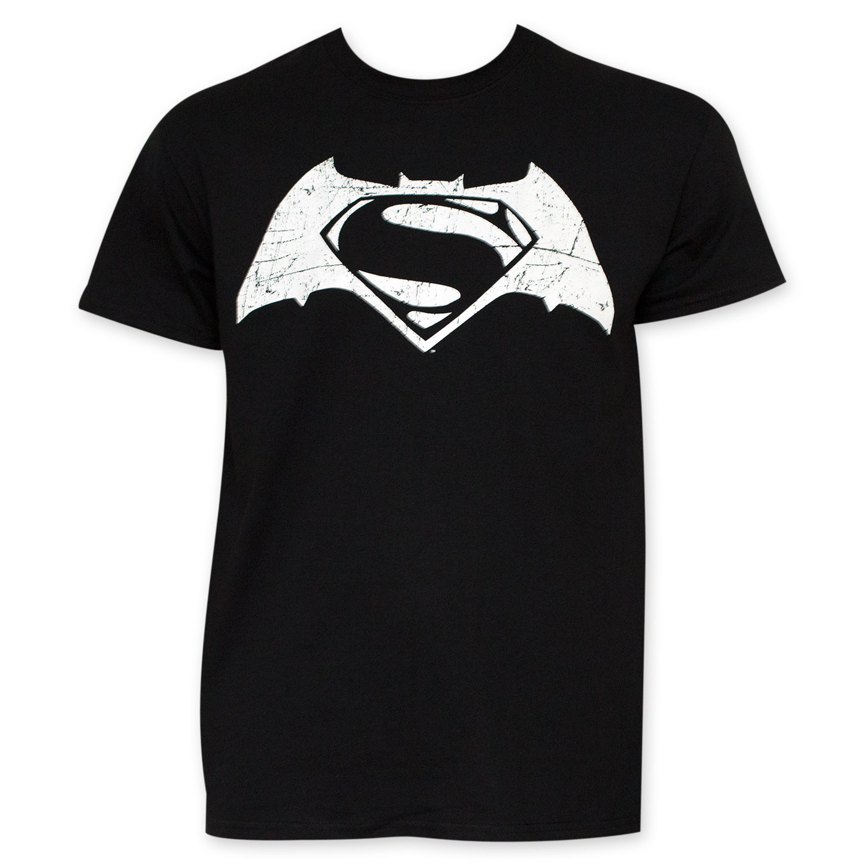 Batman v Superman Black And White Movie Logo Tee Shirt